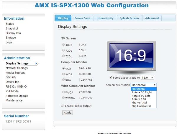 Cómo cambiar la orientación de la pantalla en un reproductor AMX