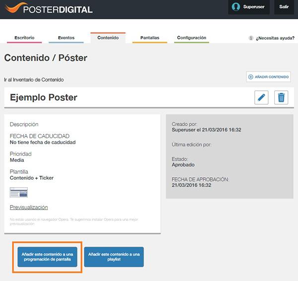 Cómo programar un póster en pantalla