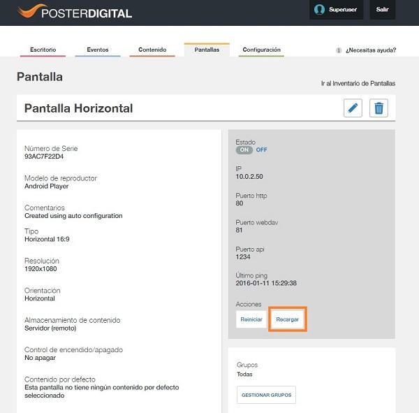 Opciones de control de los Reproductores Android desde PosterDigital