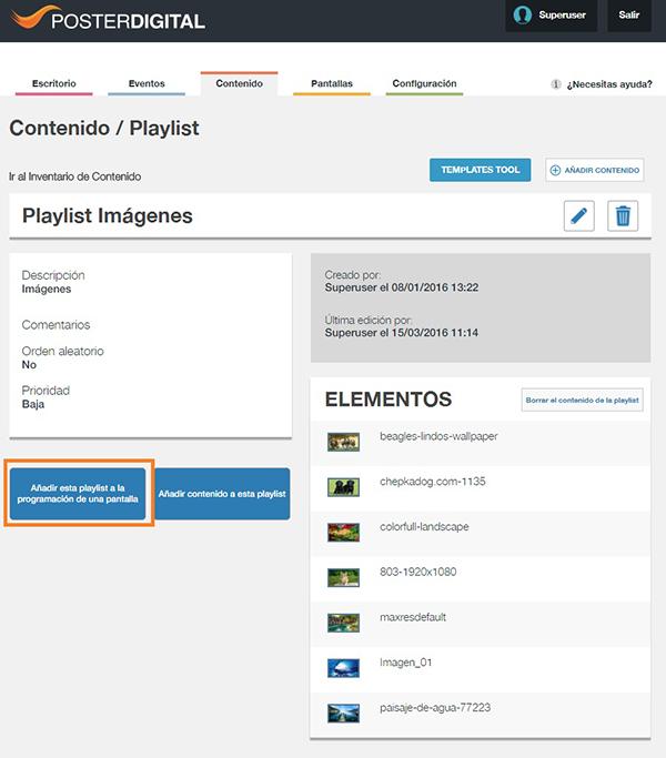 Reproducir una playlist en una pantalla