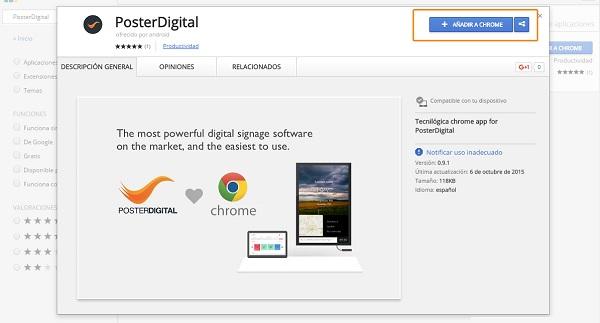Cómo instalar la APP de PosterDigital en un reproductor Chrome
